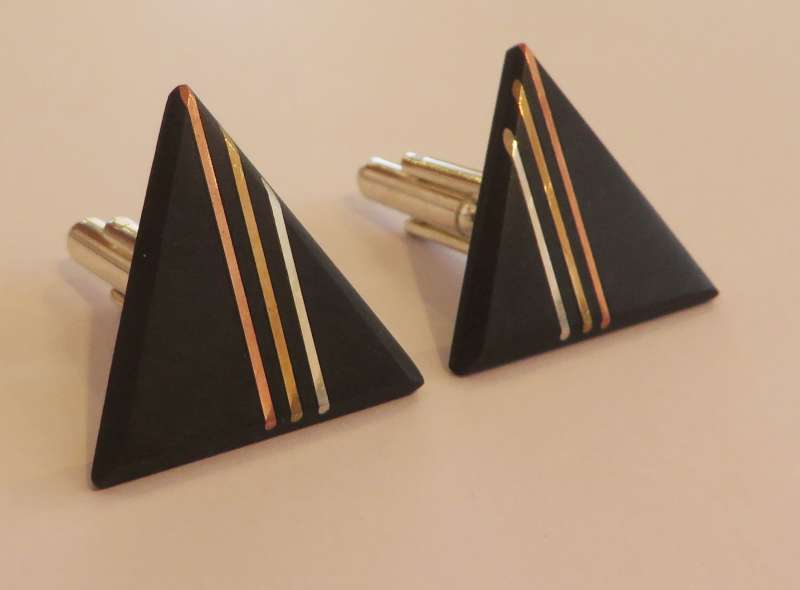 Black slate triple copper, silver and brass line triangle cufflinks