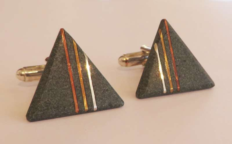 Green slate triple copper, silver and brass line triangle cufflinks