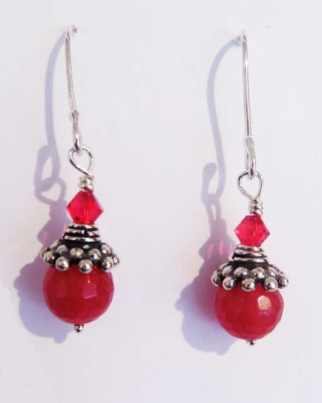 Red Faceted Bead, Silver and Swarovski Earrings