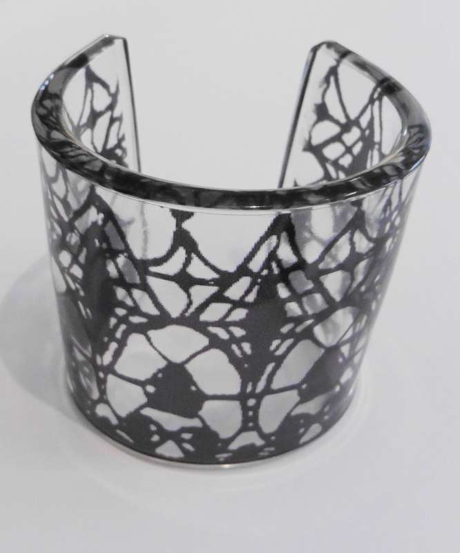 Gothic lace print cuff - black on clear