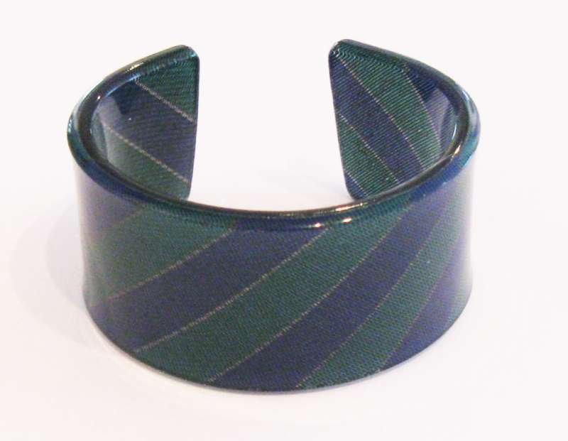 Old school tie cuff - blue and green stripes